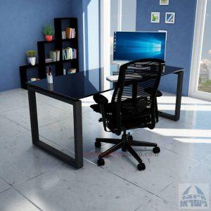 שולחן כתיבה זכוכית שחורה דגם Window Glass רגל שחורה