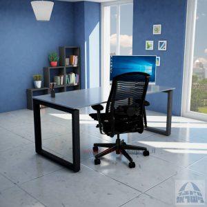 שולחן כתיבה זכוכית אפורה דגם Window Glass רגל שחורה