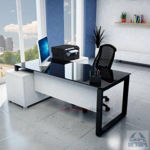 שולחן מנהלים פינתי דגם Window רגל שחורה + זכוכית שחורה