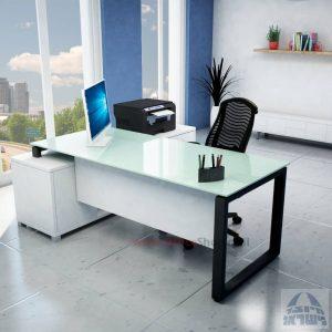 שולחן מנהלים פינתי דגם Window רגל שחורה + זכוכית לבנה