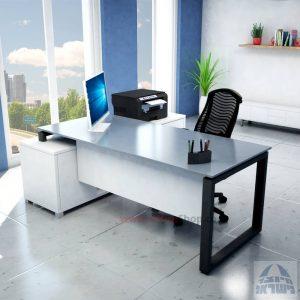 שולחן מנהלים פינתי דגם Window רגל שחורה + זכוכית אפורה