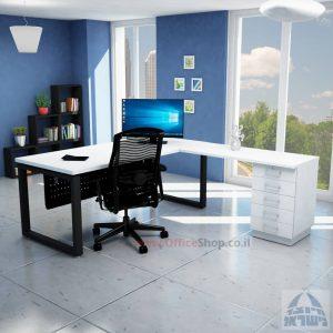שולחן מזכירה יוקרתי דגם 5M –Windowרגל שחורה - מיסתור מתכת