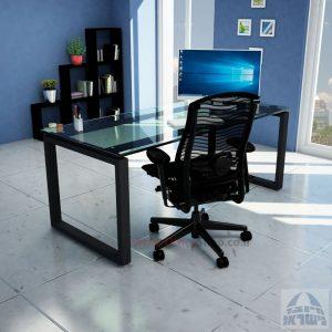 שולחן כתיבה זכוכית שקופה דגם Window Glass רגל שחורה