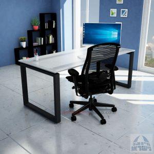 שולחן כתיבה זכוכית אקסטרה קליר חלבית צרובה דגם Window Glass רגל שחורה