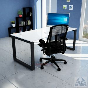 שולחן כתיבה זכוכית אקסטרה קליר בצבע לבן שלג דגם Window Glass רגל שחורה
