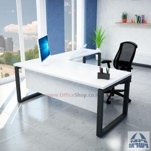 שולחן מזכירה יוקרתי דגם Window  רגל שחורה ללא מגירות - מיסתור עץ