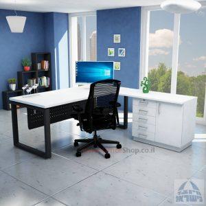 שולחן מזכירה יוקרתי דגם Window – MD5 רגל שחורה - מיסתור מתכת