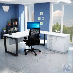 שולחן מזכירה יוקרתי דגם Window – MD5 רגל שחורה - מיסתור עץ