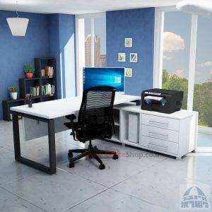 שולחן מנהלים יוקרתי דגם Window רגל שחורה