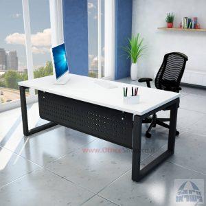 שולחן כתיבה יוקרתי דגם Window רגל שחורה ומיסתור מתכת