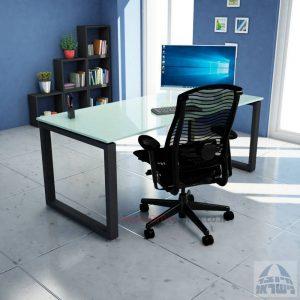 שולחן כתיבה זכוכית לבנה דגם Window Glass רגל שחורה