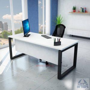 שולחן כתיבה יוקרתי דגם Window רגל שחורה כולל מיסתור עץ