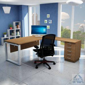 שולחן מזכירה יוקרתי דגם 5M –Windowרגל כסופה - מיסתור עץ