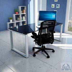 שולחן כתיבה זכוכית שחורה דגם Window Glass רגל כסופה