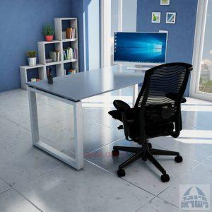 שולחן כתיבה זכוכית אפורה דגם Window Glass רגל כסופה