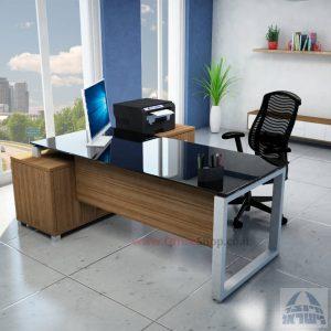 שולחן מנהלים פינתי דגם Window רגל כסופה + זכוכית שחורה