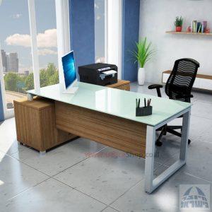 שולחן מנהלים פינתי דגם Window רגל כסופה + זכוכית לבנה