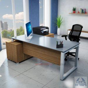 שולחן מנהלים פינתי דגם Window רגל כסופה + זכוכית אפורה