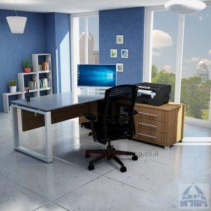 שולחן מנהלים פינתי 140X70 דגם  Window פלטה זכוכית