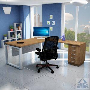 שולחן מזכירה יוקרתי דגם 5M –Windowרגל כסופה - מיסתור מתכת