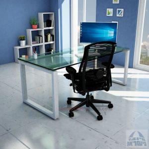שולחן כתיבה זכוכית שקופה דגם Window Glass רגל כסופה