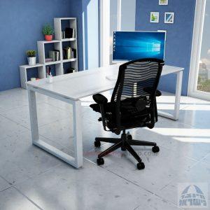 שולחן כתיבה זכוכית אקסטרה קליר חלבית צרובה דגם Window Glass רגל כסופה