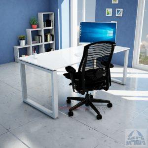 שולחן כתיבה זכוכית אקסטרה קליר בצבע לבן שלג דגם Window Glass רגל כסופה