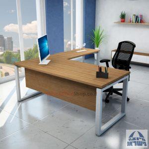 שולחן מזכירה יוקרתי דגם Window  רגל כסופה ללא מגירות - מיסתור עץ