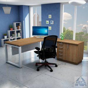 שולחן מזכירה יוקרתי דגם Window – MD5 רגל כסופה - מיסתור מתכת