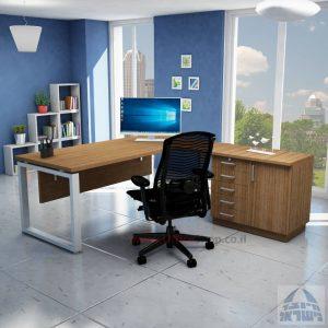 שולחן מזכירה יוקרתי דגם Window – MD5 רגל כסופה - מיסתור עץ