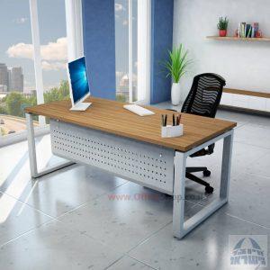 שולחן כתיבה יוקרתי דגם Window רגל כסופה כולל מיסתור מתכת