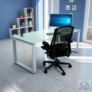 שולחן כתיבה זכוכית לבנה דגם Window Glass רגל כסופה