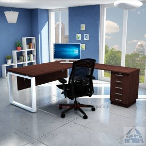 שולחן מזכירה יוקרתי דגם 5M –Windowרגל לבנה - מיסתור עץ