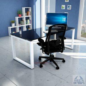 שולחן כתיבה זכוכית שחורה דגם Window Glass רגל לבנה