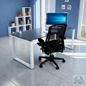 שולחן כתיבה זכוכית אפורה דגם Window Glass רגל לבנה