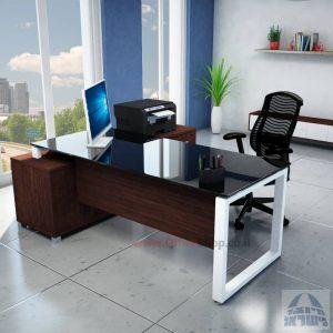 שולחן מנהלים פינתי דגם Window רגל לבנה + זכוכית שחורה