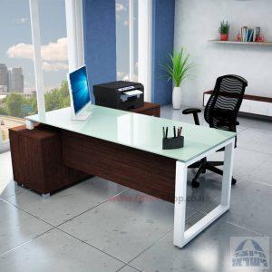 שולחן מנהלים פינתי דגם Window רגל לבנה + זכוכית לבנה