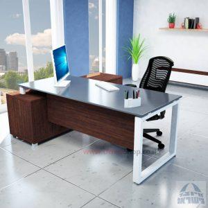 שולחן מנהלים פינתי דגם Window רגל לבנה + זכוכית אפורה