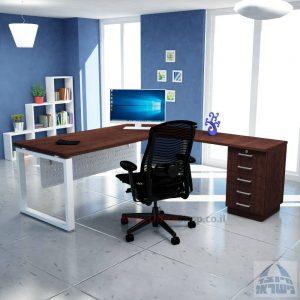 שולחן מזכירה יוקרתי דגם 5M –Windowרגל לבנה - מיסתור מתכת