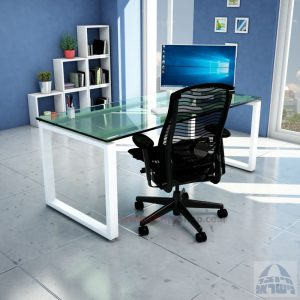 שולחן כתיבה זכוכית שקופה דגם Window Glass רגל לבנה