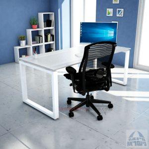 שולחן כתיבה זכוכית אקסטרה קליר חלבית צרובה דגם Window Glass רגל לבנה