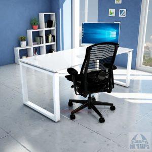 שולחן כתיבה זכוכית אקסטרה קליר בצבע לבן שלג דגם Window Glass רגל לבנה