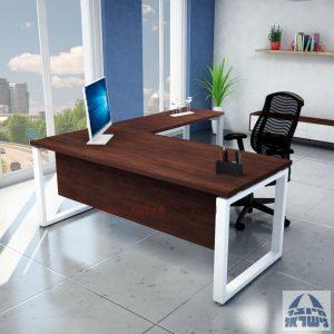 שולחן מזכירה יוקרתי דגם Window  רגל לבנה ללא מגירות - מיסתור עץ