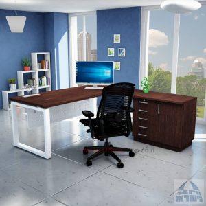 שולחן מזכירה יוקרתי דגם Window – MD5 רגל לבנה - מיסתור מתכת