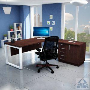 שולחן מזכירה יוקרתי דגם Window – MD5 רגל לבנה - מיסתור עץ