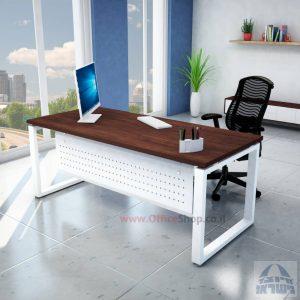 שולחן כתיבה יוקרתי דגם Window רגל לבנה כולל מיסתור מתכת