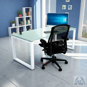 שולחן כתיבה זכוכית לבנה דגם Window Glass רגל לבנה