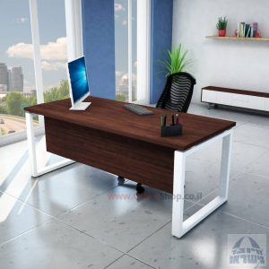 שולחן כתיבה יוקרתי דגם Window רגל לבנה כולל מיסתור עץ
