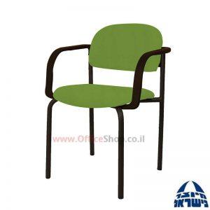 כסא אורח רקפת גוף שחור כולל ידיות