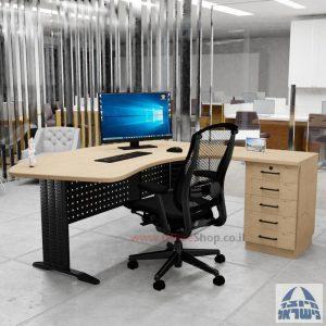 שולחן עבודה ארגונומי דגם Alfa רגל שחורה